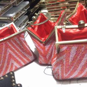 red and white vintage beaded bags
